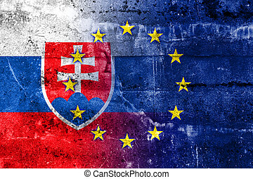 Slovakia and European Union Flag painted on grunge wall