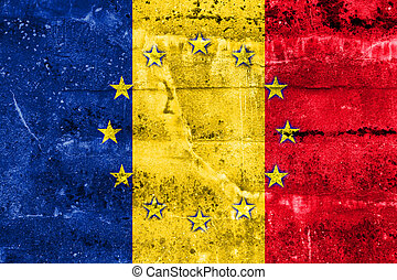 Romania and European Union Flag painted on grunge wall