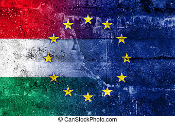 Hungary and European Union Flag painted on grunge wall
