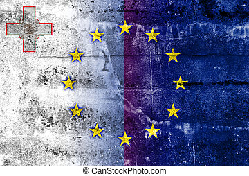 Malta and European Union Flag painted on grunge wall