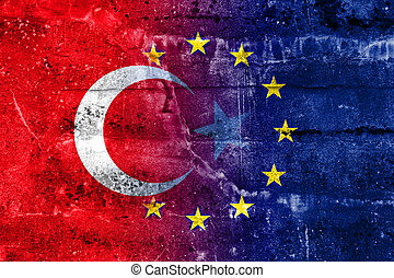 Turkey and European Union Flag painted on grunge wall