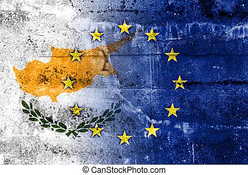 Cyprus and European Union Flag painted on grunge wall