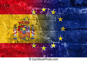 Spain and European Union Flag painted on grunge wall