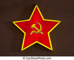 russian red star on metallic background