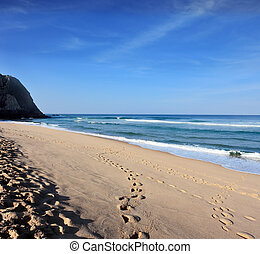 Huge sandy beach on the Atlantic coast of Portugal Early...