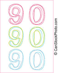 no 90 - vector number 90 pattern, created by adobe...