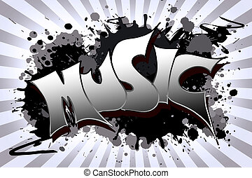 music Grunge - The word music as a grungy colorfully...
