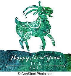 Watercolor pattern goat. Chinese astrological sign. New Year...