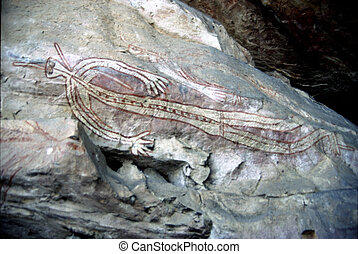 Rock Paintings can be found at a number of sites in the...