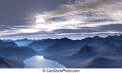 Pink sunset in the Blue Mountains - Low mountains and hills...
