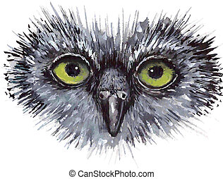 Face owl concept design. Bird are isolated on white background.