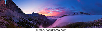 Sunrise in the Dolomites, panoramic pictures.