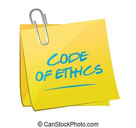 code of ethics memo post illustration design over a white...