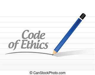 code of ethics message illustration design over a white...