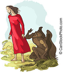 Temptation of Jesus Christ - Vector illustration of...