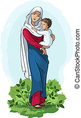 Virgin Mary holding baby Jesus - Vector illustration of...