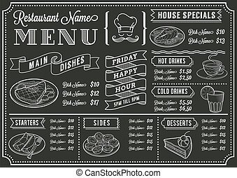 Chalkboard Restaurant Menu Template - A full vector template...