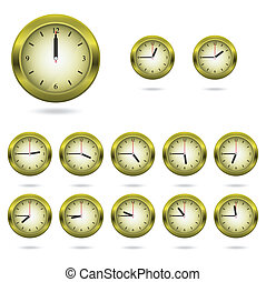 Set of colorful clock icon