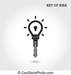 Creative light bulb idea concept with padlock symbol. Key of idea. Business ideas