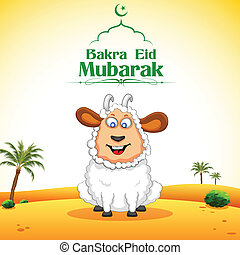 Bakra Id Mubarak - illustration of sheep wishing Bakra Id...