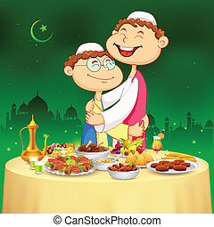 People hugging and wishing Happy Bakrid - illustration of...