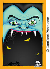 Halloween message - illustration of screaming monster for...
