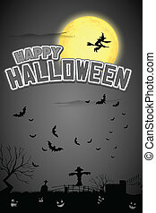 Happy Halloween Background - illustration of witch flying in...