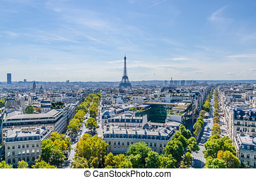 Skyline of Paris view from Triumphal arch