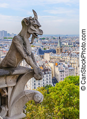 Notre Dame gargoyle - Gargoyle in the cathedral of Notre...