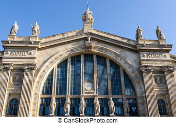 Gare du Nord facade - Facade of Gare du Nord in Paris. Train...