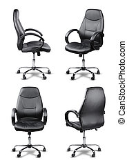 Office chair set isolated - Office chair set black leather...