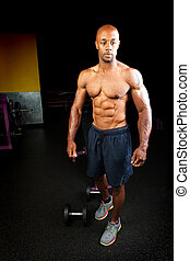 Muscle Fitness Physique - Portrait of a lean toned and...