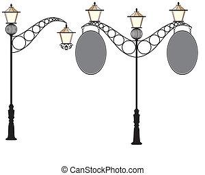 Wrought Iron Signage With Lamp, Lantern