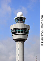 Airport Control Tower - Air Traffic Control tower. Amsterdam...
