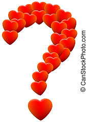 Love Hearts Question Mark - Red glowing hearts that form a...