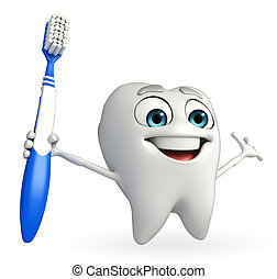 Teeth character with tooth brush - Cartoon character of...