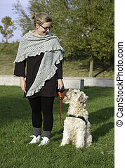 Training the dog - Woman and dog training