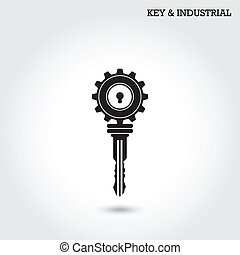 Key and industry sign Vector illustration