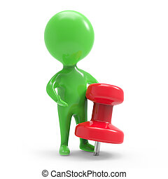 3d Little green man with red pin - 3d render of a little...