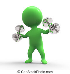 3d Little green man lifting weights - 3d render of a little...