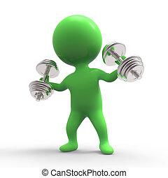 3d Little green man lifting weights - 3d render of a little...