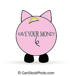 piggy bank save your money illustration on white