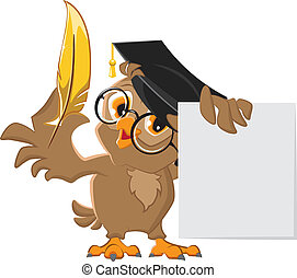 Wise owl holding a golden pen and a sheet of paper Vector...