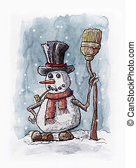 Snowman at Christmas - Watercolor paint of a snowman at...