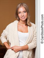 Fall fashion beauty. - Beautiful young blond woman wearing...