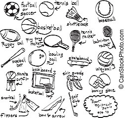 Doodle sport equipment. Vector illustration. Sketchy...