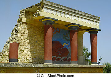 Greece, Crete, ancient Minoan palace in Knossos