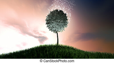 Magical Dollar Money Tree - A stylized tree with leaves made...