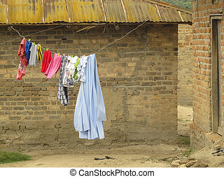 hanger with clothes