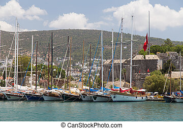 Bodrum Marina - Sailboats in Bodrum Marina, Aegean Coast of...